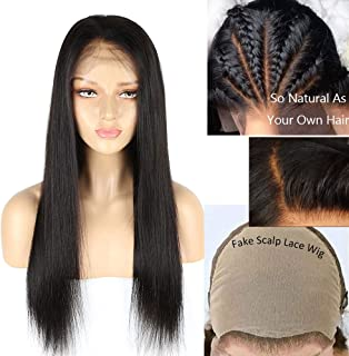 Eayon Hair Fake Scalp Wig 13x6 Lace Front Human Hair Wigs with Baby Hair Natural Straight Brazilian Remy Hair Undetectable Lace Wig 130% Density 18 inch