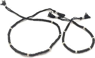 DARSHRAJ .925 Sterling Silver 6 Ball Black Thread Nazariya Knot Anklet Bracelet For Girls Women Free Size [Anklet+Bracele...