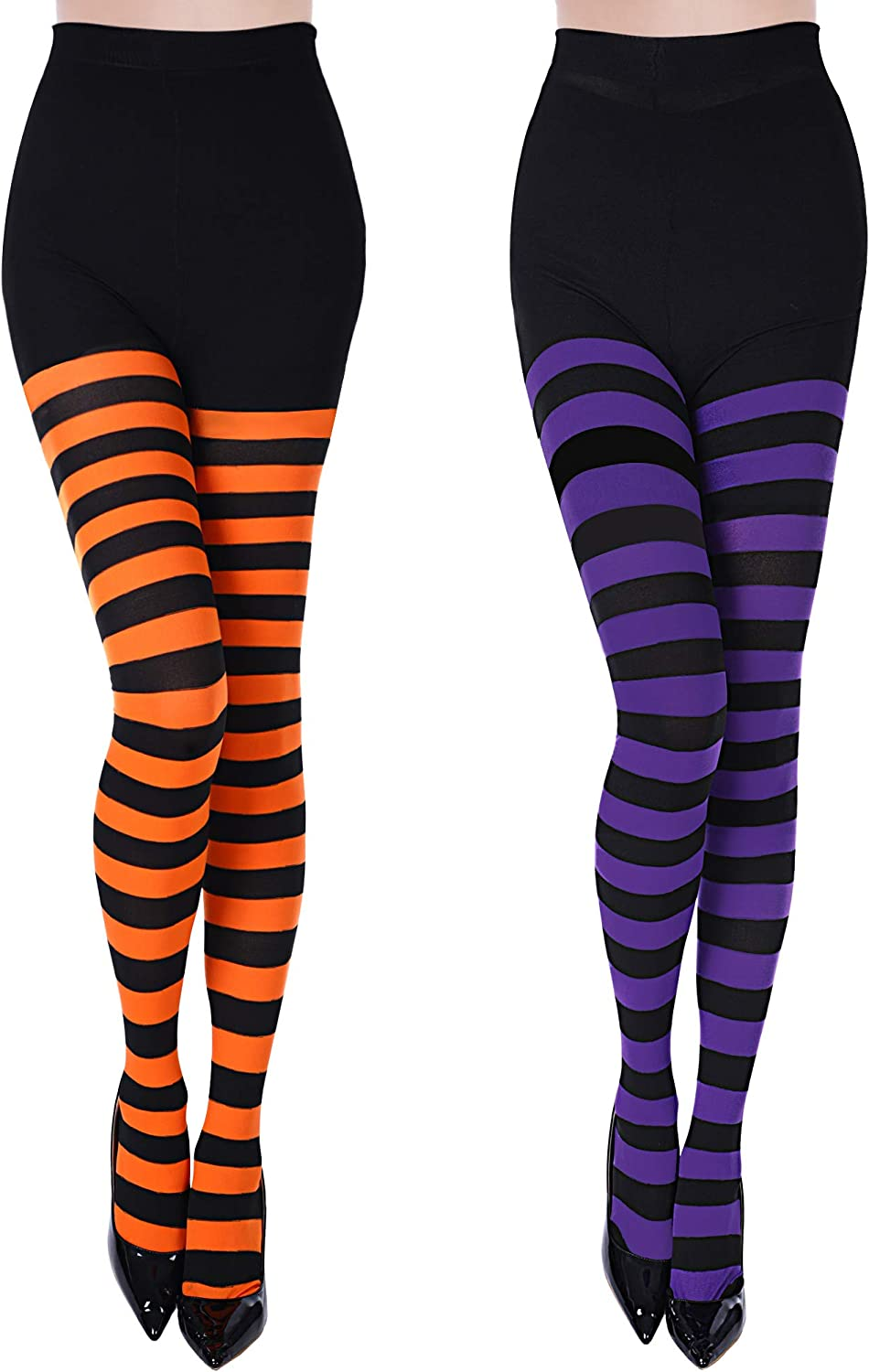 2 Pieces Striped Tights Solid Color Legging Tights Women Footed Tights for Halloween (Color Set 1)