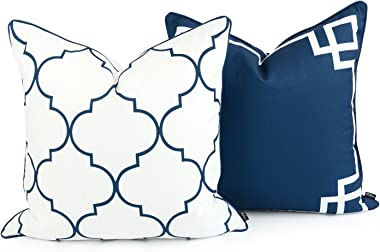 """Hofdeco Spring Indoor Outdoor Pillow Cover ONLY, Water Resistant for Patio Lounge Sofa, Navy Blue Greek Key Moroccan, 20""""x20"""", Set of 2"""