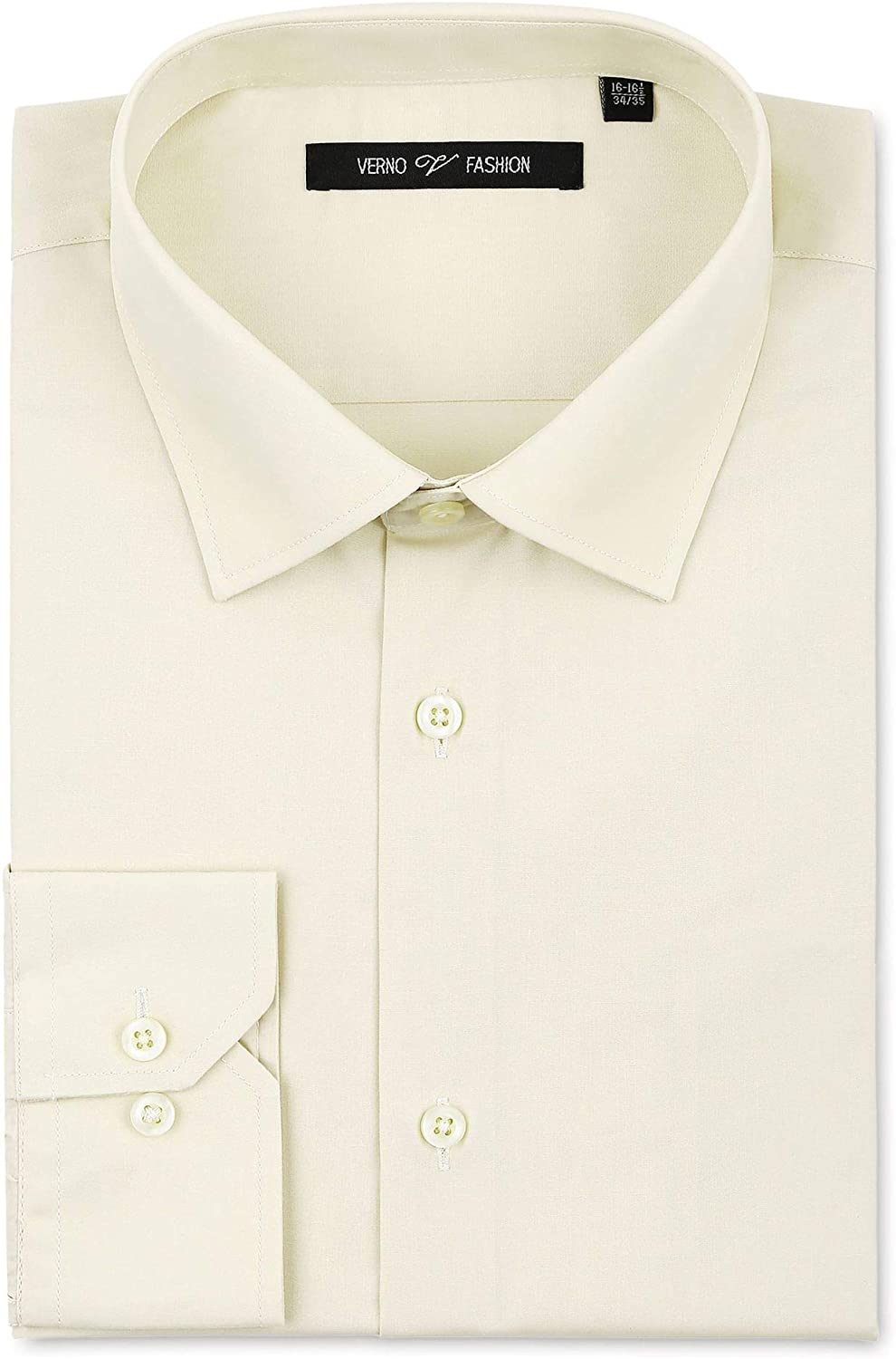 VERNO FASHION Men's Classic Fit Solid Dress Shirt Long Sleeve Spread Collar Shirt