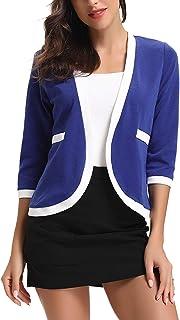 c1dccbaa29 Veste de Costume Femme Blazer Manches 3/4 Gilet Cardigan Elégant Casual Blouson  Jacket Chic