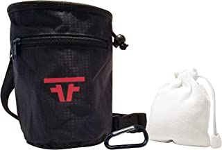 Free Face Gear Chalk Bag for Rock Climbing with Refillable Chalk Ball Included Quick-Clip Belt and Large 2 Zipper Design for Rock Climbing, Lifting, Crossfit, Gymnastics, and Bouldering