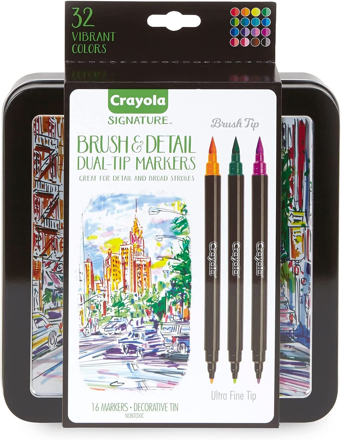 Crayola Brush & Detail Dual Tip Markers, Kids At Home Activities, 32 Colors, 16 Count : Arts, Crafts & Sewing