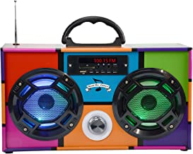 Mini Boombox with LED Speakers –Retro Bluetooth Speaker w/Enhanced FM Radio - Perfect for Home and Outdoor (Retro Multi)