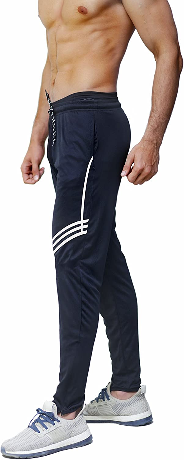 PFlex Men's Soccer Training Pants - Tapered fit Joggers- Zippered Pockets - Comfortable Sweatpants - Long Lasting