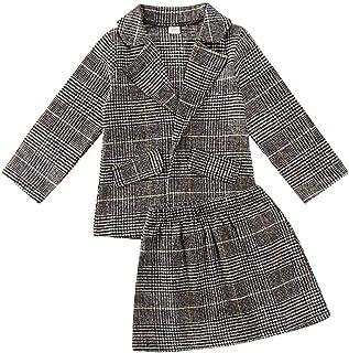 BOIZONTY Kids Toddler Girls Plaid Cardigan Coat Jacket Outwear Sweater Top + Mini Tutu Dress Skirt Fall Winter Outfit Clothes Set