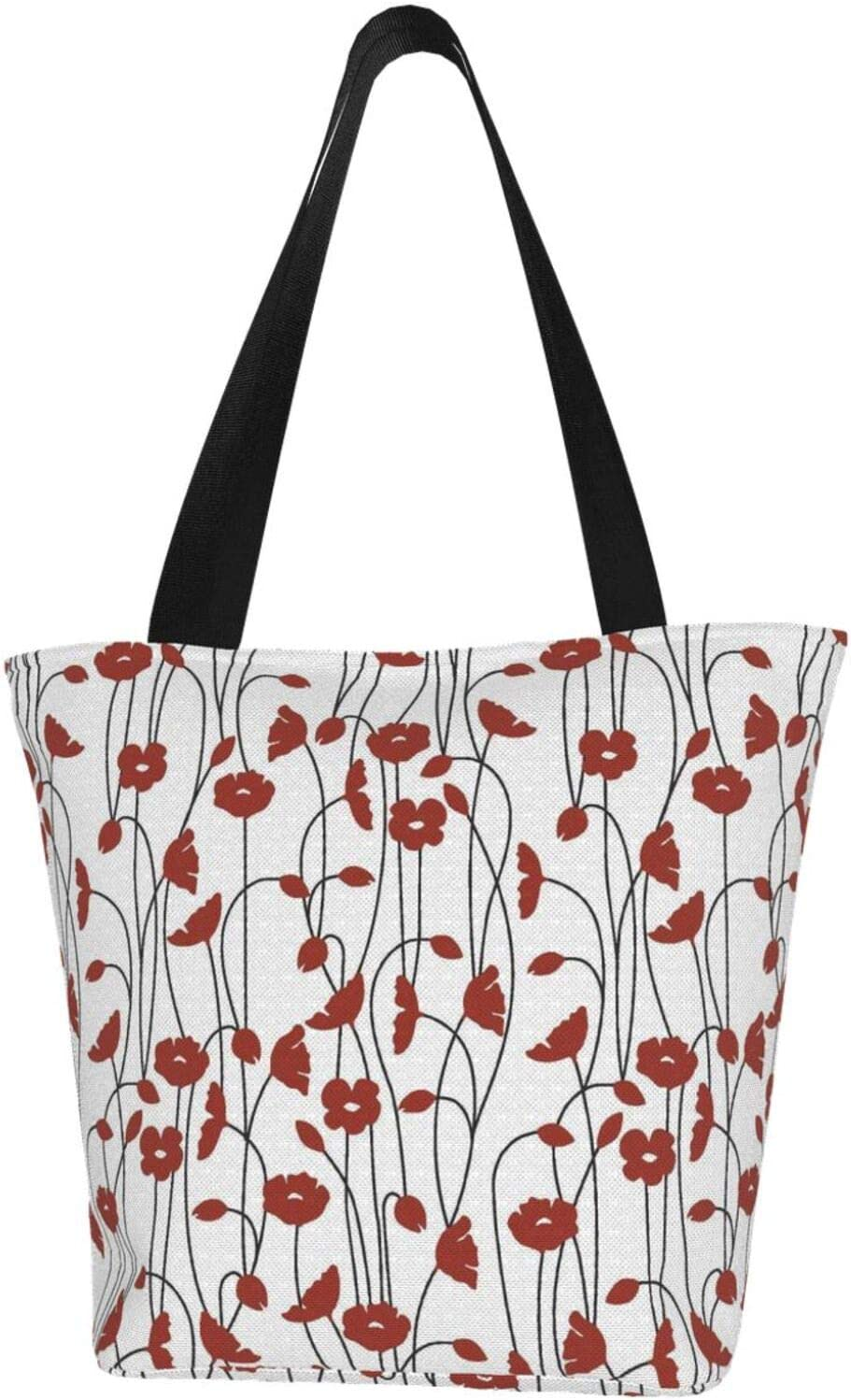 AKLID Red Floral Mail order Pattern Las Vegas Mall Extra Canvas Large Tote Resistant Water