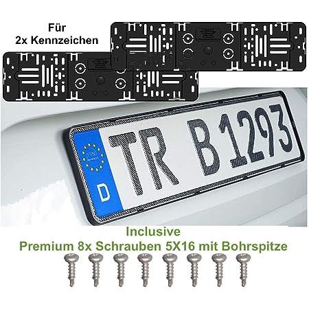 2x Stück Elegant Rahmenlos Kennzeichenhalter Für Auto Kennzeichen 520 X 110 Mm Incl 8x Schrauben 5x16 Mit Bohrspitze Auto