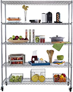 Trinity TBFC-0904 5-Tier NSF Heavy Duty X-Large Wire Shelving Rack with Wheels, 60