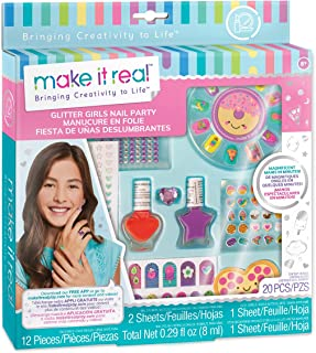 Make It Real - Glitter Girls Nail Party. Nail Art Manicure Set for Kids, Complete with Faux Nails, Nail Polish, Nail Stickers, Nail File, Body Jewels and More!