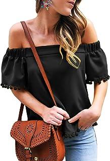 Asvivid Women's Striped Off Shoulder Bell Sleeve Shirt...