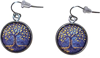 Orecchini pendenti in acciaio inossidabile, diametro 20 mm, fatto a mano, illustrazione albero della vita 3