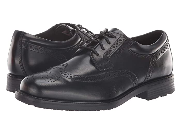 Rockport  Essential Details Waterproof Wing Tip (Black) Mens Lace Up Cap Toe Shoes