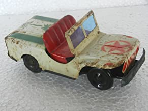 Vintage Star & Tree Printed Litho Jeep / Car Tin Toy , Collectible