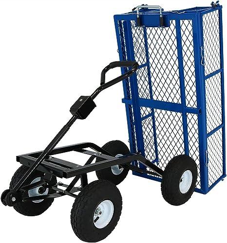 wholesale Sunnydaze Utility Steel lowest Dump Garden Cart, sale Outdoor Lawn Wagon with Removable Sides, Heavy-Duty 660 Pound Capacity, Blue online sale
