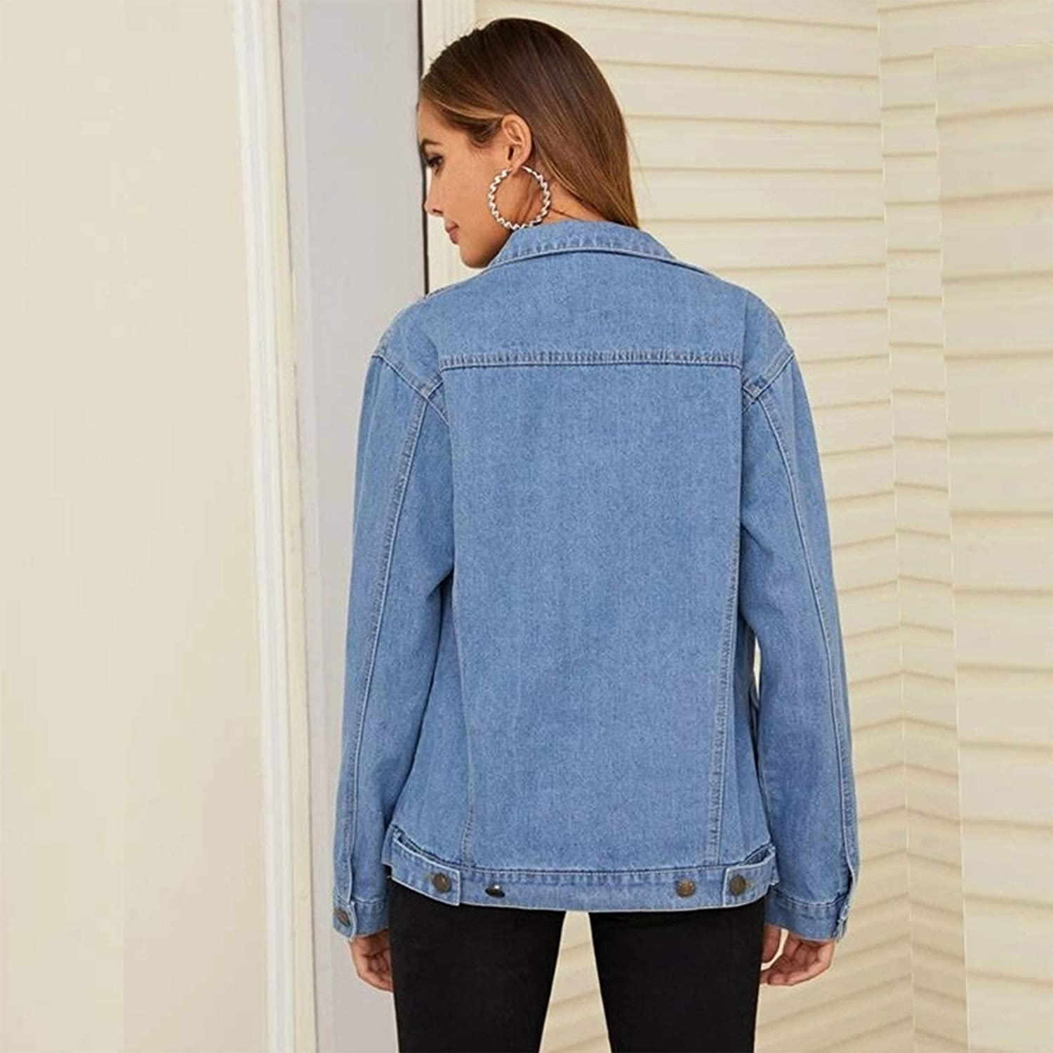 Women's Denim Lapel Jacket Fashion Casual Loose Comfortable Washed Distressed Denim Long Sleeve Jacket for Women (Size : Small)
