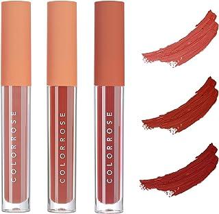 COLORROSE 3 Pcs Matte Liquid Lipstick Set, Waterproof Long Lasting Non-Stick Velvety Liquid Lip Gloss Beauty Cosmetics Set...