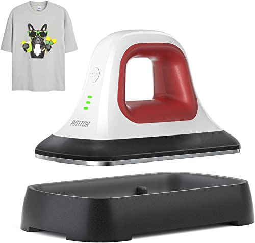"AMTOK Heat Press - 7"" x 3.8"" Heat Press Machines for T Shirts Shoes Bags Hats and Small HTV Vinyl Projects & Portable..."