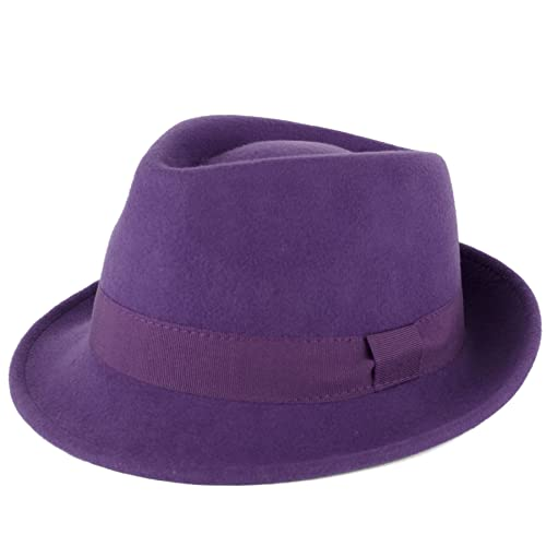 37b1267efdc1e Wool Trilby Hat with Grosgrain Band Handmade in Italy
