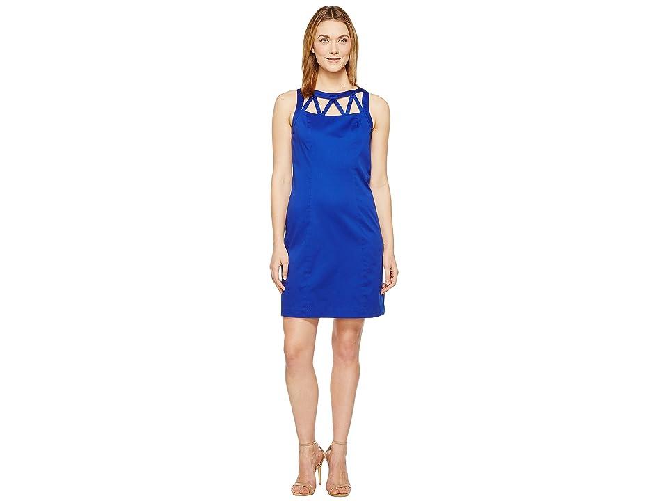 Adrianna Papell Stretch Cotton A-Line Shift Dress (Ultramarine) Women