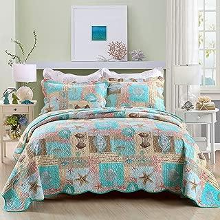 Travan 3-Piece Queen Quilt Sets with Shams Oversized Bedding Bedspread Coverlet Set, Ocean World Printed
