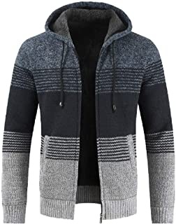 Autumn Winter Packwork Hooded Zipper Jacket Knit Cardigan Long Sleeve Coat Men