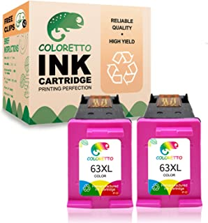 Coloretto Re-Manufactured Printer Ink Cartridge Replacement for HP 63 63XL 63 XL,Used in HP Envy 4520 4516 Officejet 5255 5258 4650 3833 5252 DeskJet 1112 3632 2130 3638 3639(2Color)