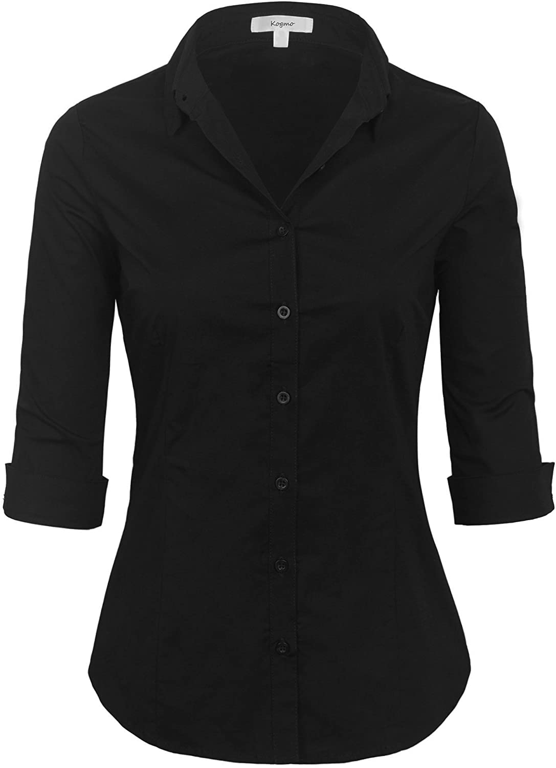 KOGMO Womens Classic Solid 3 4 Dress Blouse Boston Mall Button Sleeve Quality inspection Down S