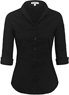 c087bfcc28bfd KOGMO Womens Classic Solid 3/4 Sleeve Button Down Blouse Dress Shirt (S-