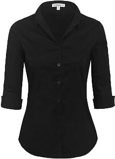 df7fe7ddaa294e KOGMO Womens Classic Solid 3 4 Sleeve Button Down Blouse Dress Shirt (S-