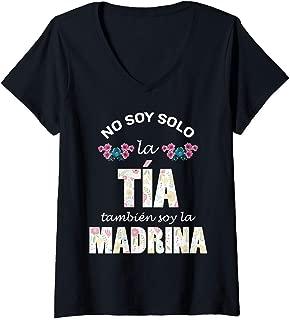 Womens Regalo para Madrina - Camiseta de Tia y Madrina de Bautizo V-Neck T-Shirt