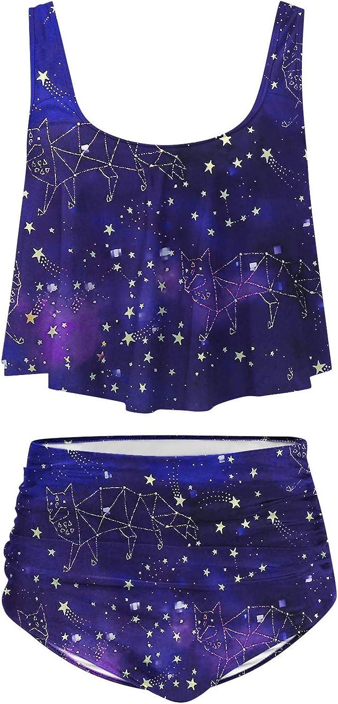 Chanyuhui Swimsuits for Women High Waisted Tankini 2 Piece Tummy Control Swimwear Ruffled Top Swim Bottom Bathing Suits