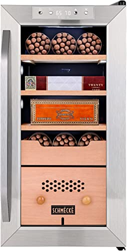 wholesale Schmécké 250 Cigar Cooler Humidor with Precise Humidity Control, Stainless Steel Trim Finish outlet sale Cabinet, Spanish Cedar Wood Shelves and Drawer with Built outlet online sale in Digital Hygrometer outlet online sale