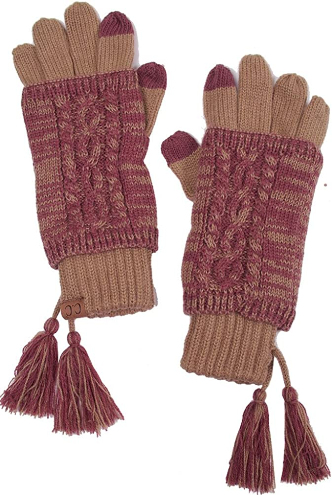 ScarvesMe CC Two Tone Double Layer Gloves with Tassel