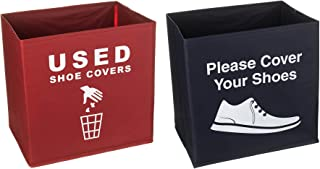 Yolju 2 Pack Shoe Cover Boxes for Realtor, Home, Office. Blue and Red Foldable Boxes Come as a Set with Please Cover Your Shoes and Used Shoe Covers Sign for Disposable Booties