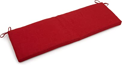 Blazing Needles Outdoor Spun Poly 19-Inch by 60-Inch by 3-1/2-Inch 3-Seater Bench Cushion, Paprika