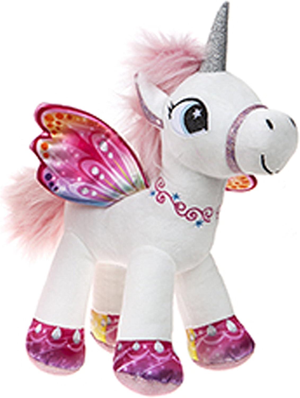 BARRADO Peluche Unicornio con alas de pie - Calidad Supersoft (Blanco/Rosa, 34cm)