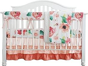 Boho Chic Coral Floral Ruffle Baby Minky Blanket, Peach Floral Nursery Crib Skirt Set Baby Girl Crib Bedding (Coral)