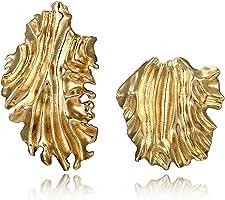 ShapeW 1 Pair Golden Irregular Large Curved Leaf Earrings Geometric Mismatch Jewelry