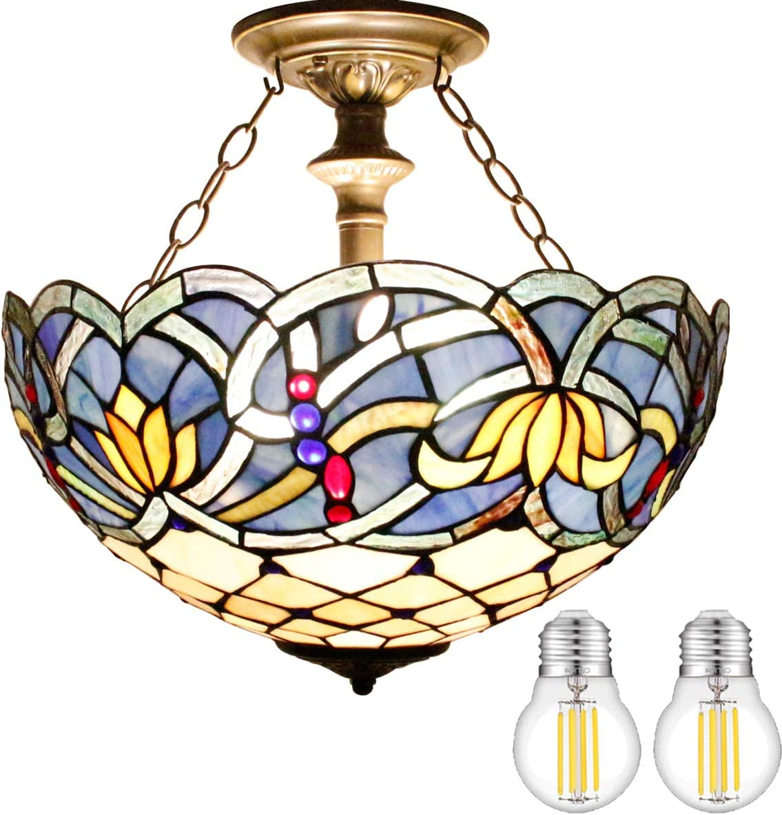 Tiffany Ceiling Light Fixture Semi Blue New color Stained Mount New arrival Flush 16