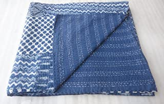 Indigo Blue Patch work Bedspread King Size Hand block Print Kantha Stitch, 90 X 108 Inches