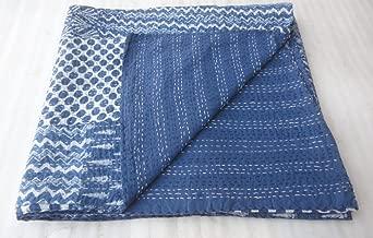 Indigo Blue Patch work Bedspread King Size Hand block Print Kantha Stitch, 90 X 108 Inches