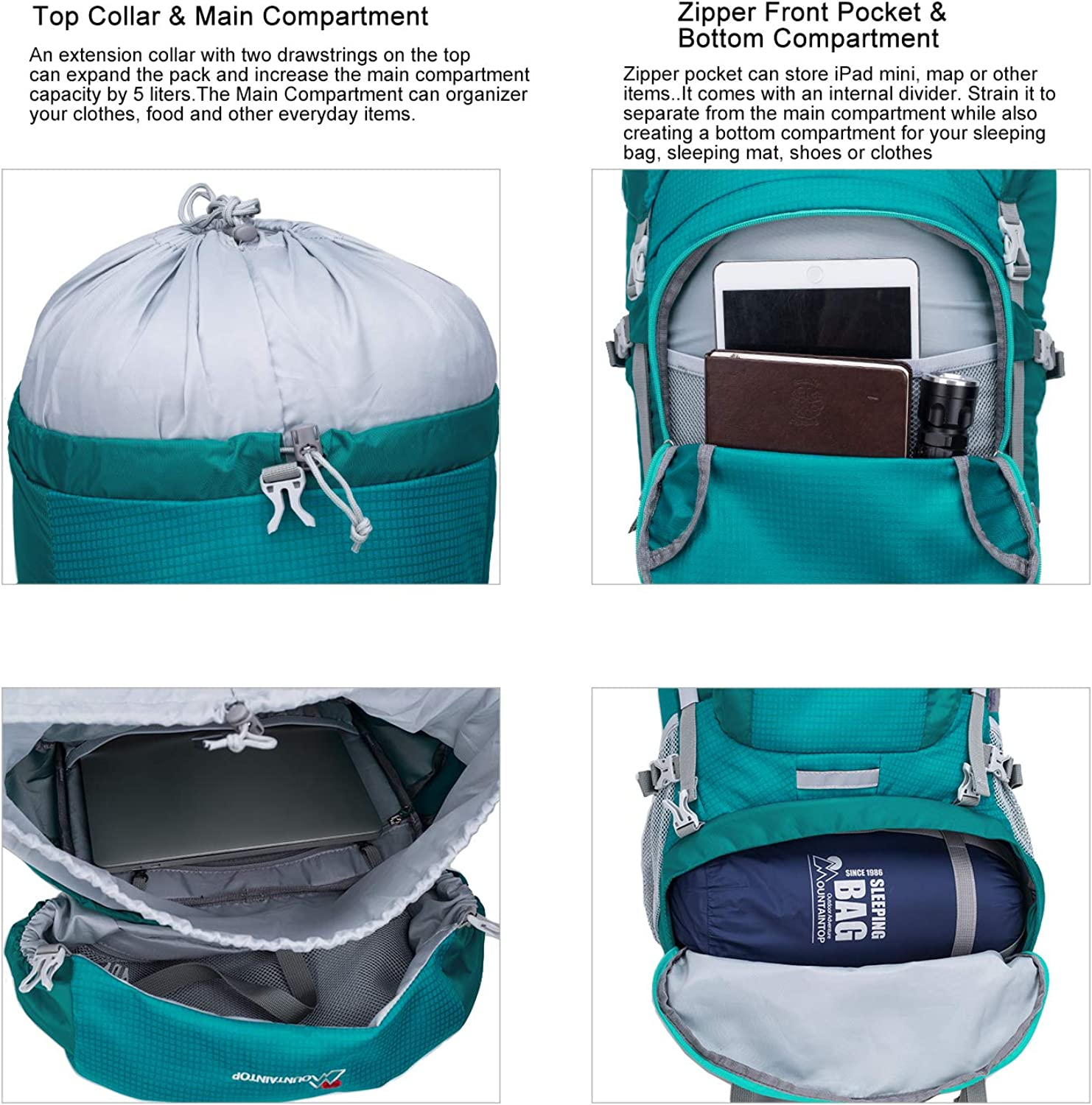 Mountaintop 60 Liter Hiking Internal Frame Backpack with Rain Cover