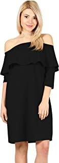 Womens 3/4 Sleeve Reg and Plus Size Off The Shoulder Cocktail Dress Ruffle Shift Dress - Made in USA
