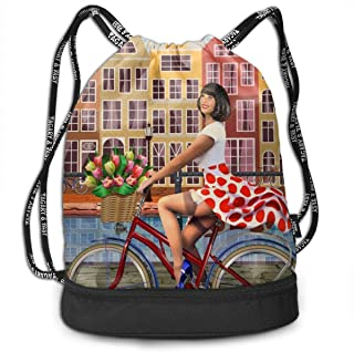 Backpack Drawstring Bag Amsterdam Vintage Poster.Happy Pin-up Girl On A Bike With Flowers Gym Drawstring Bags