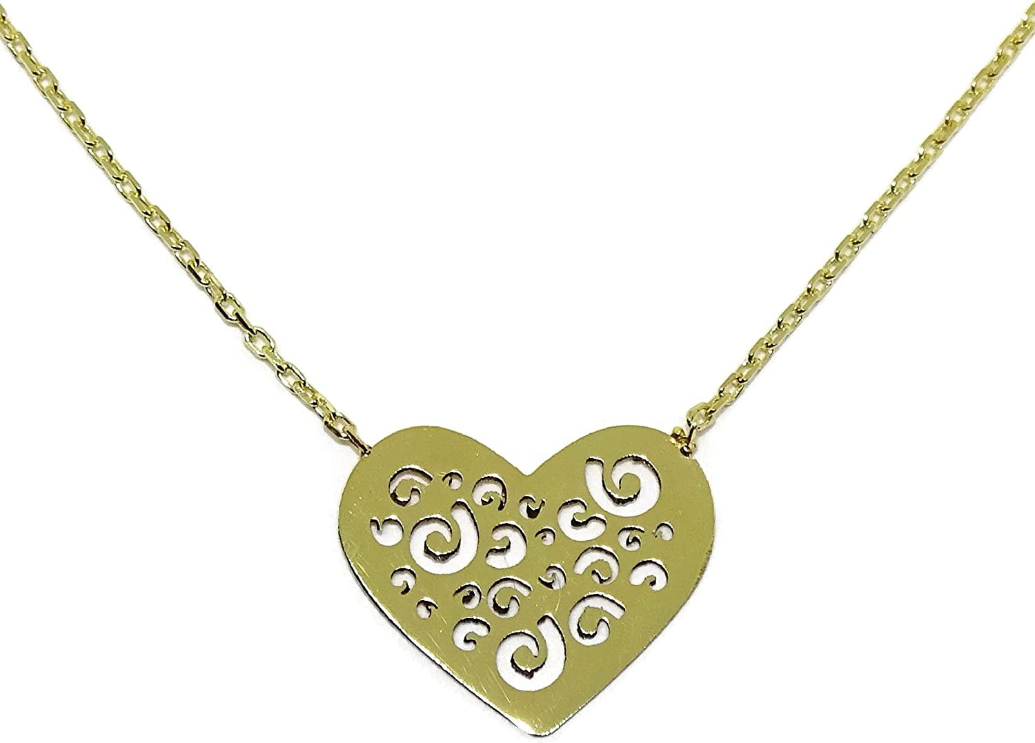 18K Yellow Gold Fretwork Heart Love price Charm New York Mall Pendant Necklace In
