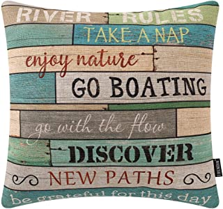 TRENDIN Wooden Plank River Rules Throw Pillow Cover 20x20 inch River Theme Decor Cotton Linen Cushion Case for Sofa Couch PL510TR20