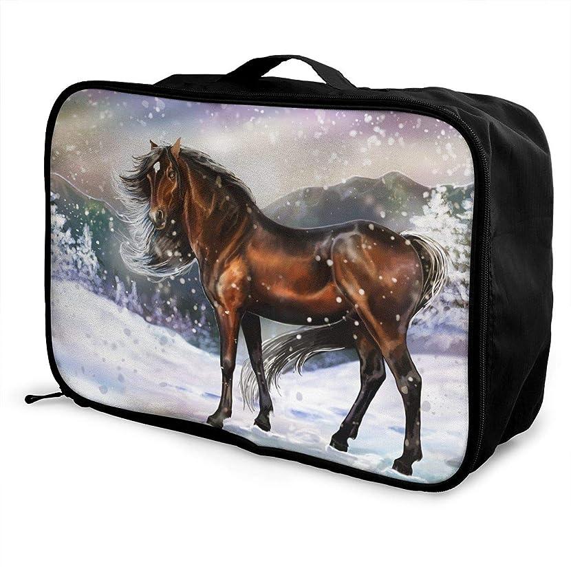 Travel Luggage Duffle Bag Lightweight Portable Handbag Horse Snow Large Capacity Waterproof Foldable Storage Tote