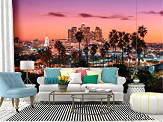 Kanworse Sunset of Los Angeles Skyline at Sunsets and Pictures Canvas Print Wallpaper Wall Mural Self Adhesive Peel & Stick Wallpaper Home Craft Wall Decal Wall Poster Sticker for Living Room